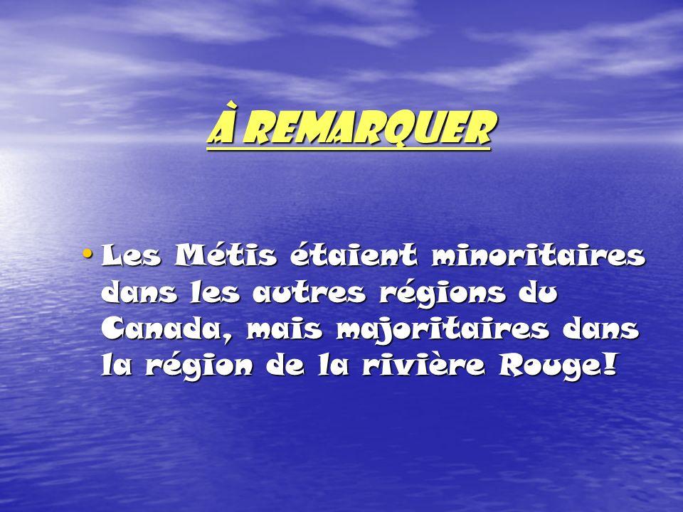 À REMARQUER Les Métis étaient minoritaires dans les autres régions du Canada, mais majoritaires dans la région de la rivière Rouge! Les Métis étaient