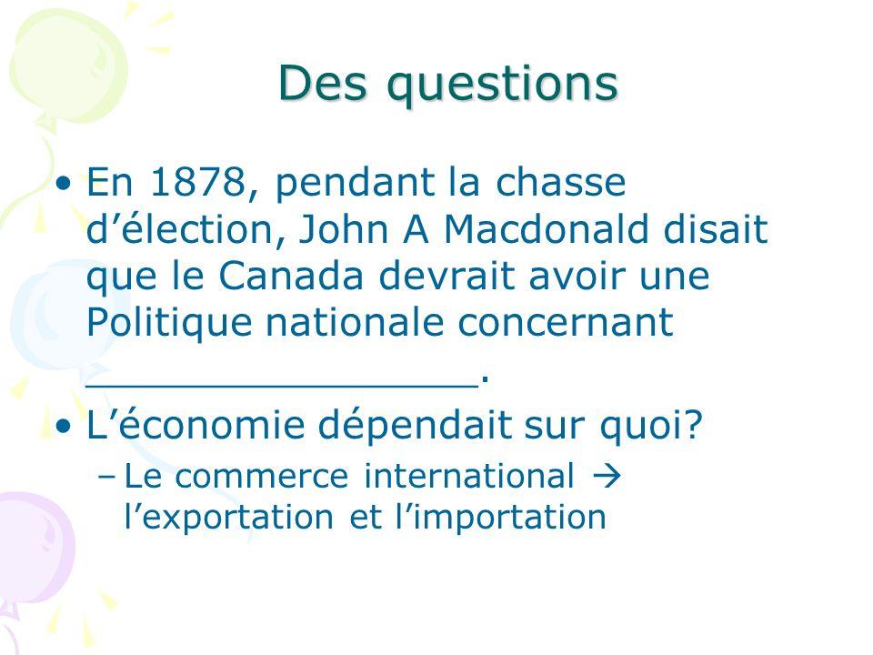 Des questions En 1878, pendant la chasse délection, John A Macdonald disait que le Canada devrait avoir une Politique nationale concernant ___________