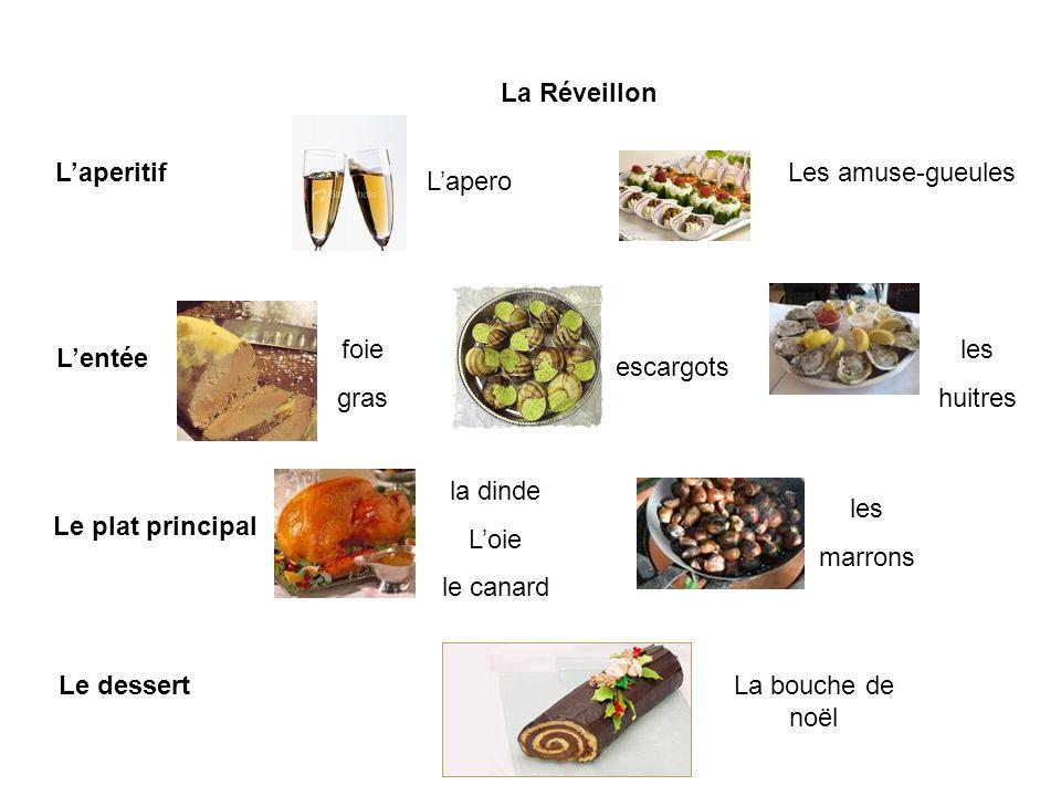 La Réveillon Laperitif Lapero Les amuse-gueules Lentée foie gras escargots les huitres Le plat principal la dinde Loie le canard les marrons Le dessertLa bouche de noël
