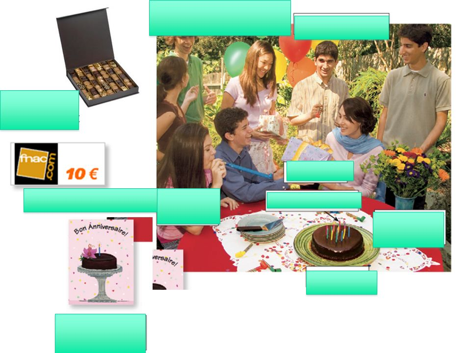 Une boîte de chocolat Un chèque-cadeau