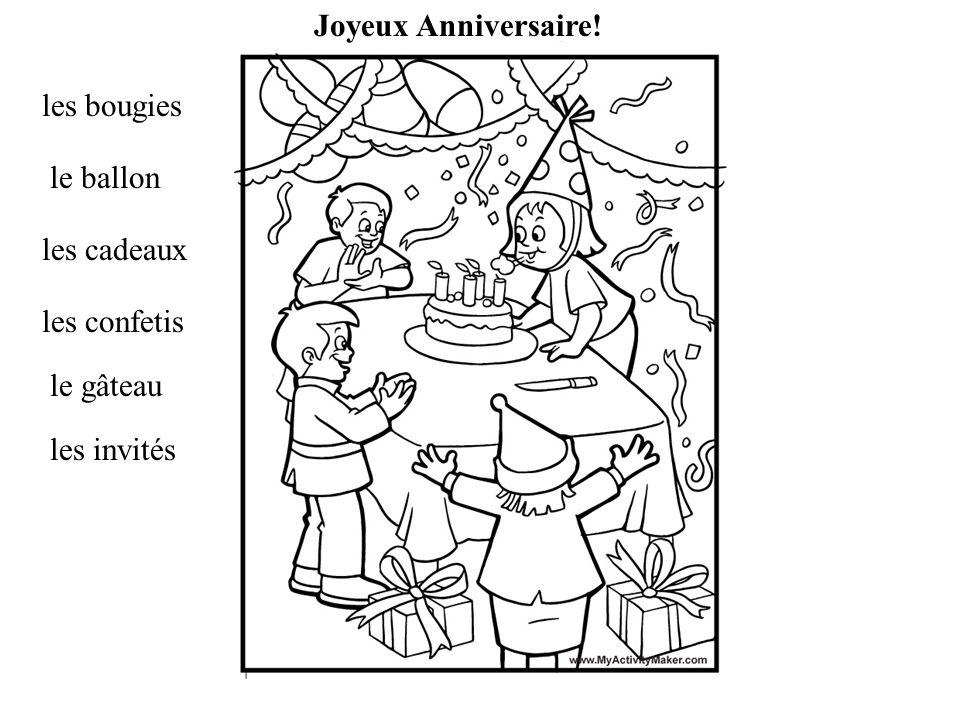 les bougies le ballon les cadeaux les confetis le gâteau les invités Joyeux Anniversaire!