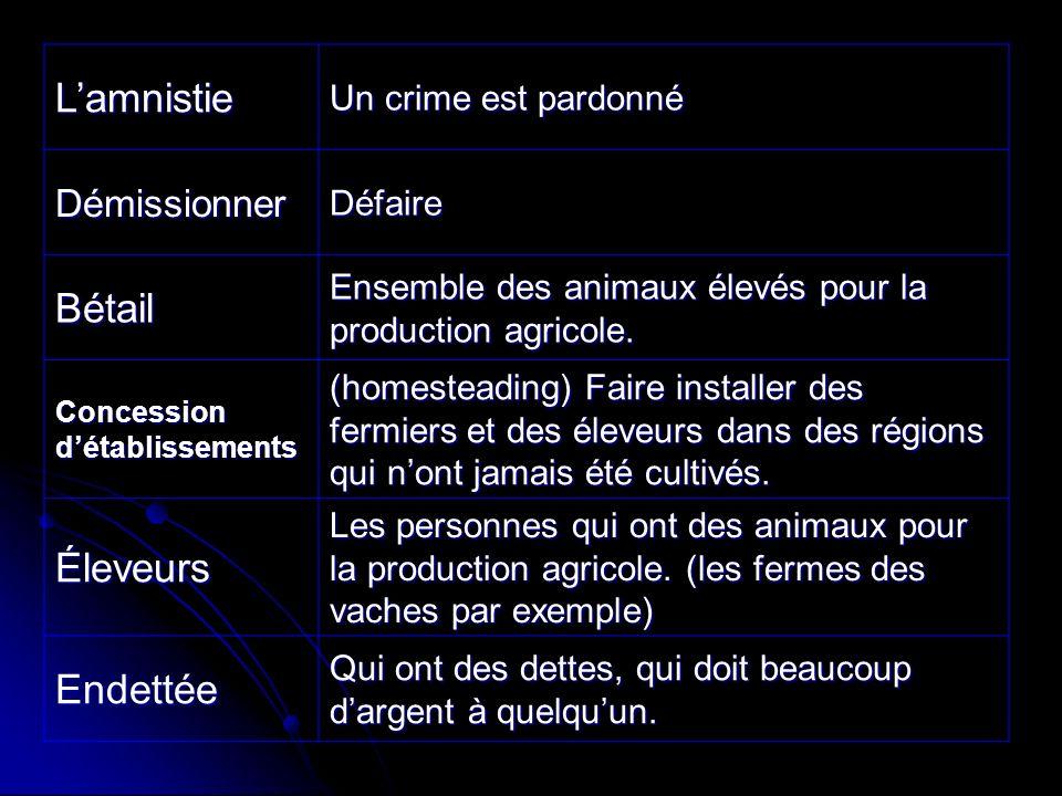 Lamnistie Un crime est pardonné DémissionnerDéfaire Bétail Ensemble des animaux élevés pour la production agricole.