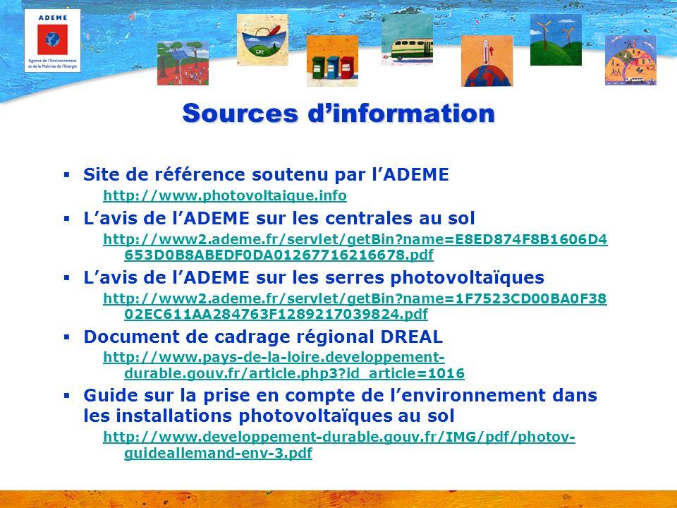 Sources dinformation Site de référence soutenu par lADEME http://www.photovoltaique.info Lavis de lADEME sur les centrales au sol http://www2.ademe.fr