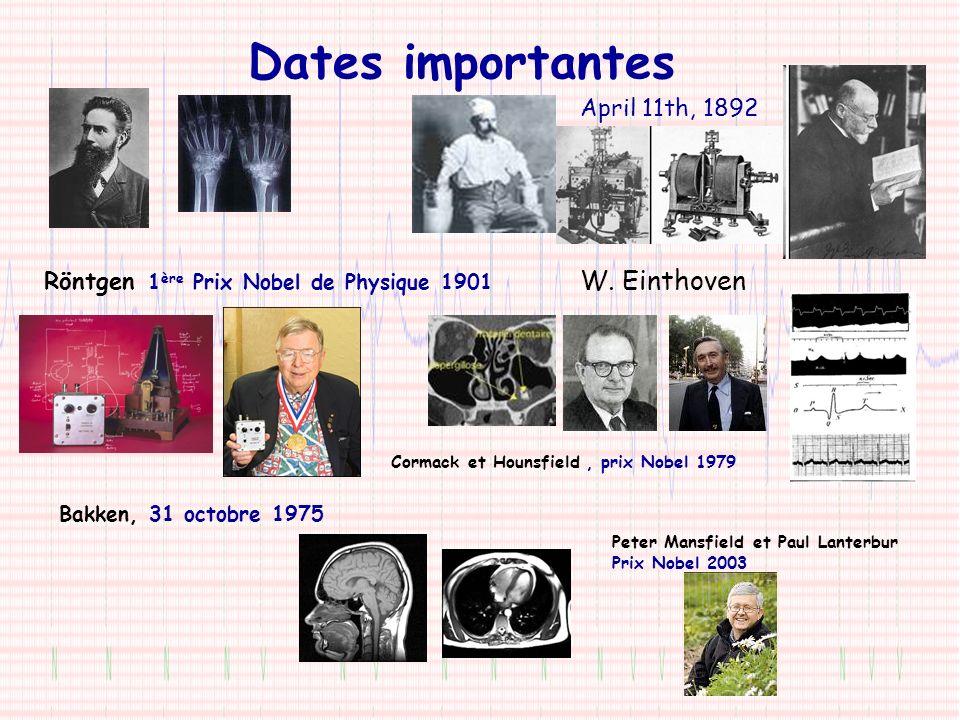 Dates importantes Röntgen 1 ère Prix Nobel de Physique 1901 April 11th, 1892 W. Einthoven Bakken, 31 octobre 1975 Cormack et Hounsfield, prix Nobel 19