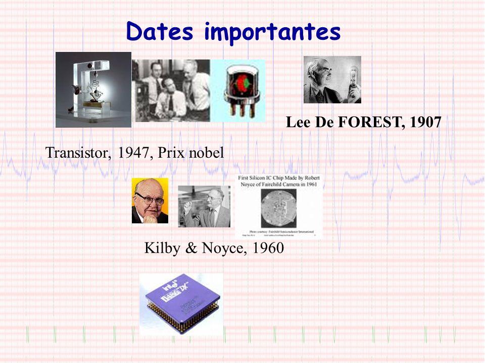 Dates importantes Transistor, 1947, Prix nobel Lee De FOREST, 1907 Kilby & Noyce, 1960