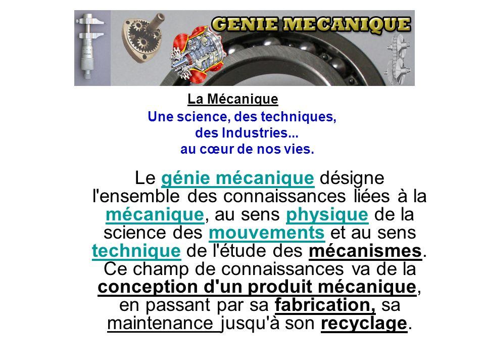 Le génie mécanique désigne l'ensemble des connaissances liées à la mécanique, au sens physique de la science des mouvements et au sens technique de l'