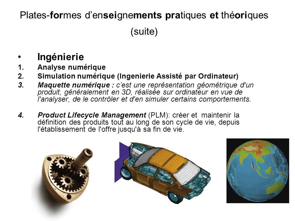 Ingénierie 1.Analyse numérique 2.Simulation numérique (Ingenierie Assisté par Ordinateur) 3.Maquette numérique : cest une représentation géométrique d