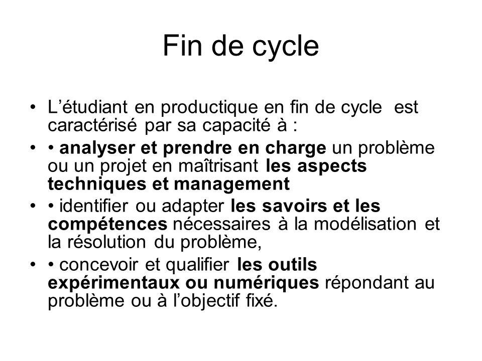 Fin de cycle Létudiant en productique en fin de cycle est caractérisé par sa capacité à : analyser et prendre en charge un problème ou un projet en ma