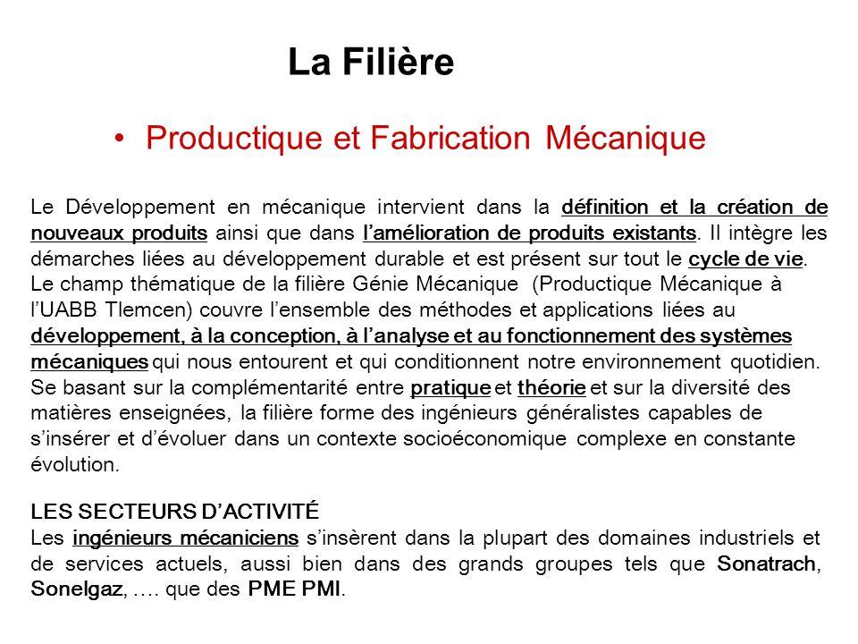 Productique et Fabrication Mécanique La Filière Le Développement en mécanique intervient dans la définition et la création de nouveaux produits ainsi