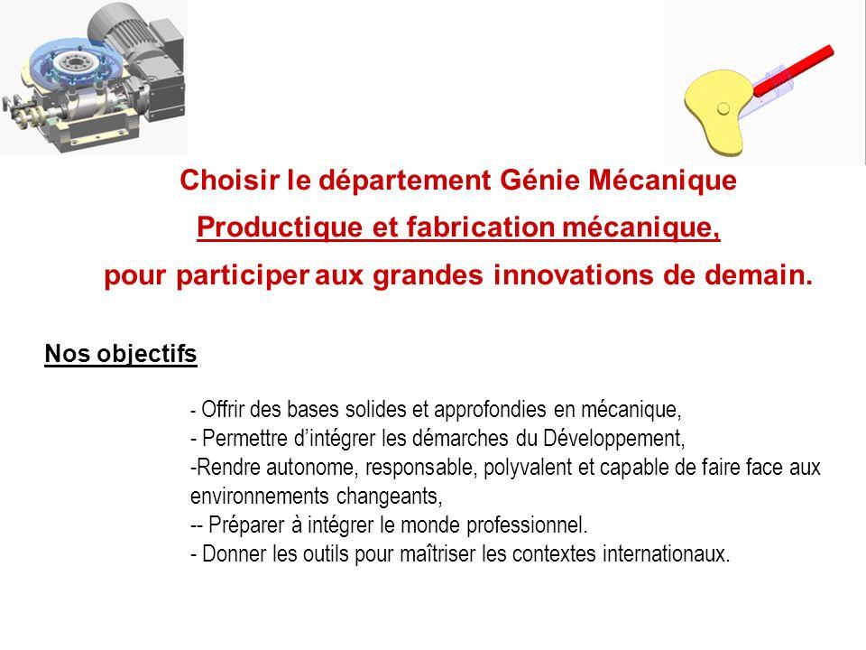 Choisir le département Génie Mécanique Productique et fabrication mécanique, pour participer aux grandes innovations de demain. - Offrir des bases sol