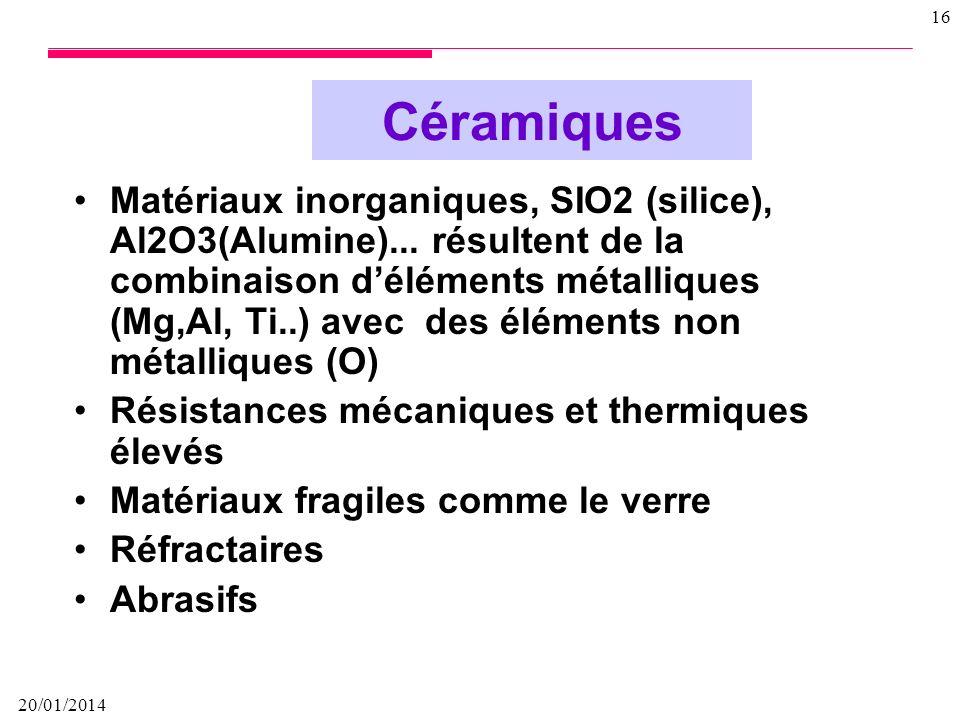 20/01/2014 15 Matériaux composés de molécules formant de longues chaînes datomes de carbones sur lesquels sont fixés des éléments comme lhydrogène ou
