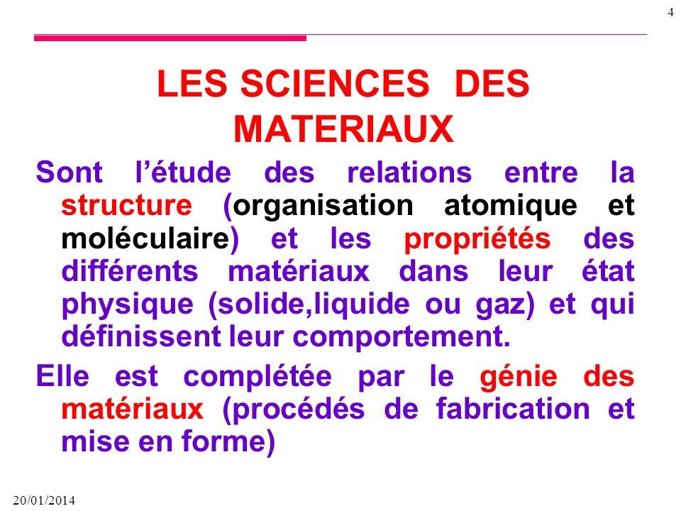 20/01/2014 4 Sont létude des relations entre la structure (organisation atomique et moléculaire) et les propriétés des différents matériaux dans leur état physique (solide,liquide ou gaz) et qui définissent leur comportement.