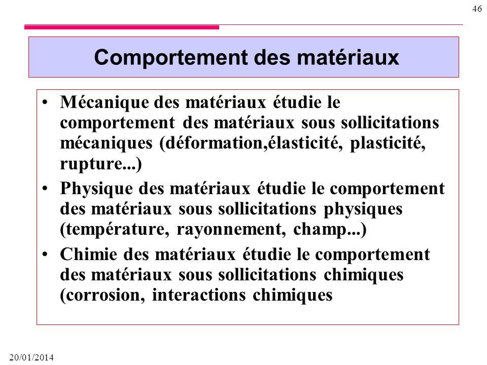 20/01/2014 45 Diagramme déquilibre métastable Fer – cémentite Fe3C utilisé pour les aciers et les fontes, présentant des domaines péritectique, eutect