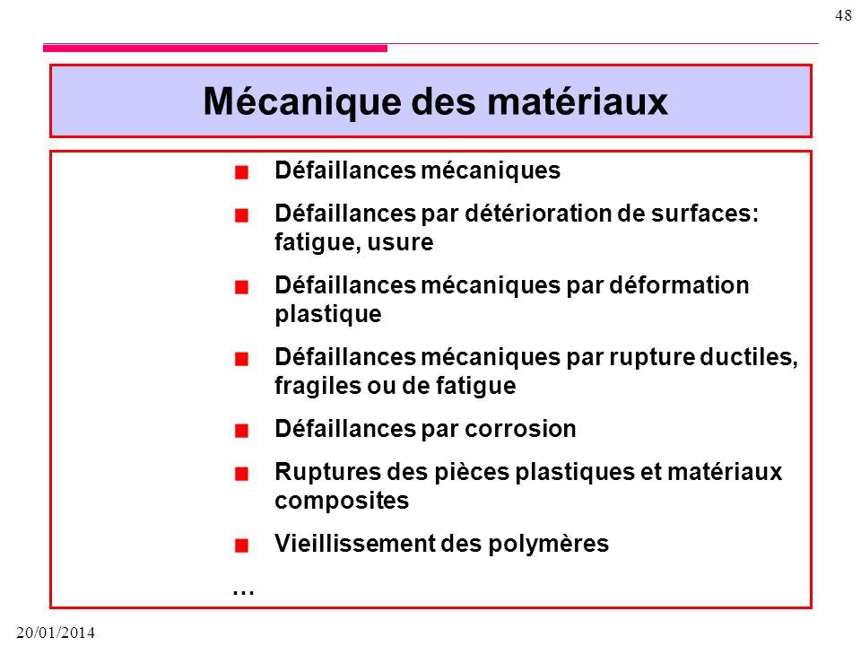 20/01/2014 47 COMPORTEMENT DES MATERIAUX Il est très important de faire un bilan de santé du matériau Depuis sa naissance, jusquà son extinction et mê