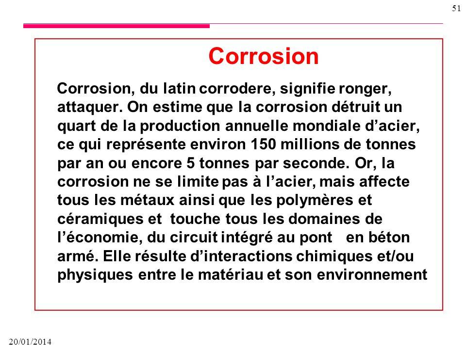 20/01/2014 50 Comportement à la corrosion Le comportement à la corrosion d'un matériau en service dépend d'une multitude de facteurs: composition chim