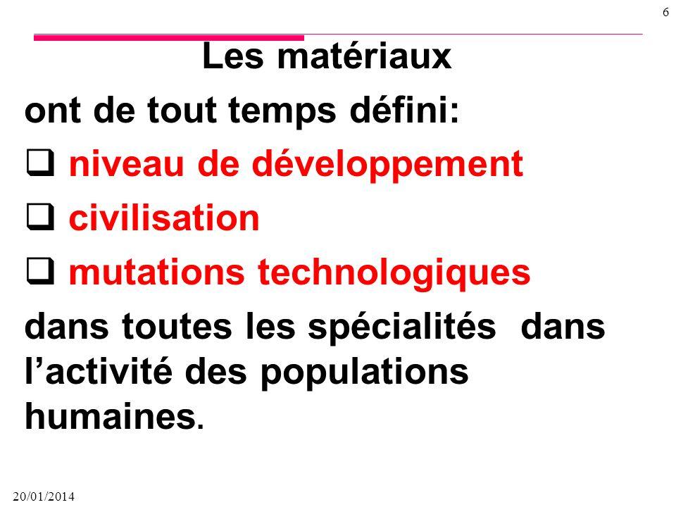 20/01/2014 5 Un matériau est une forme transformée solide de la matière naturelle pour la conception dobjets (outils et armes) par la maîtrise des tec