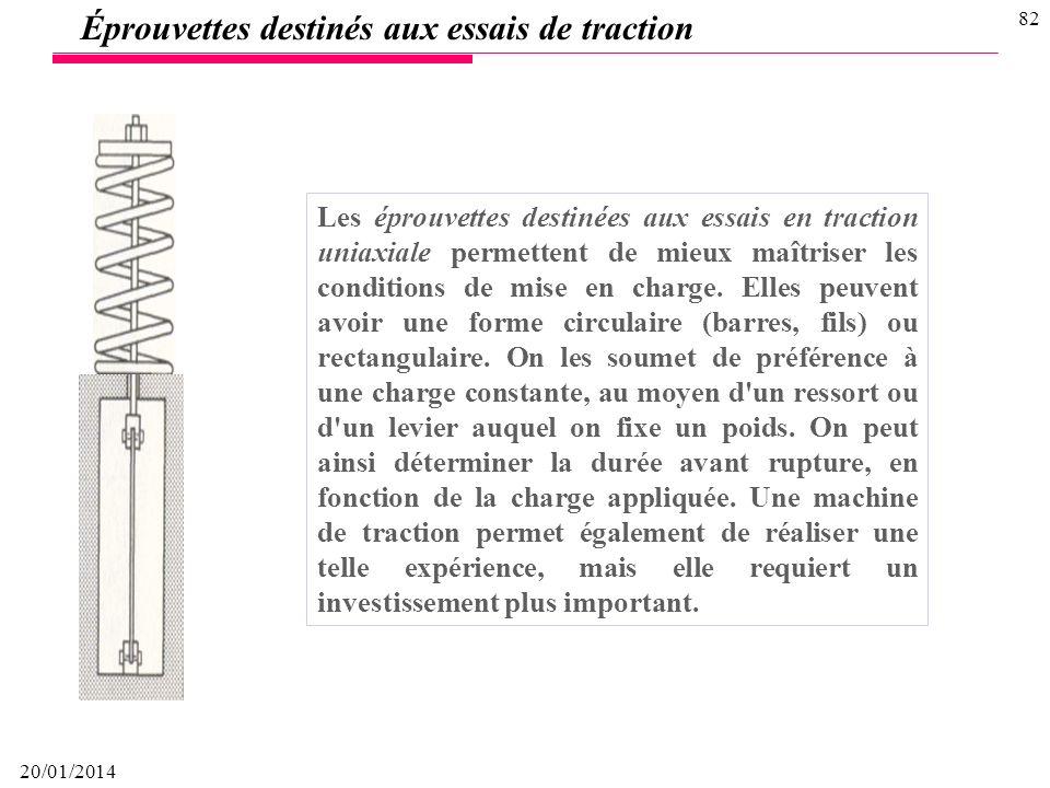 20/01/2014 81 Éprouvettes en U sont destinées à recevoir une déformation plastique constante. Leur emploi se limite donc aux matériaux ductiles. La d
