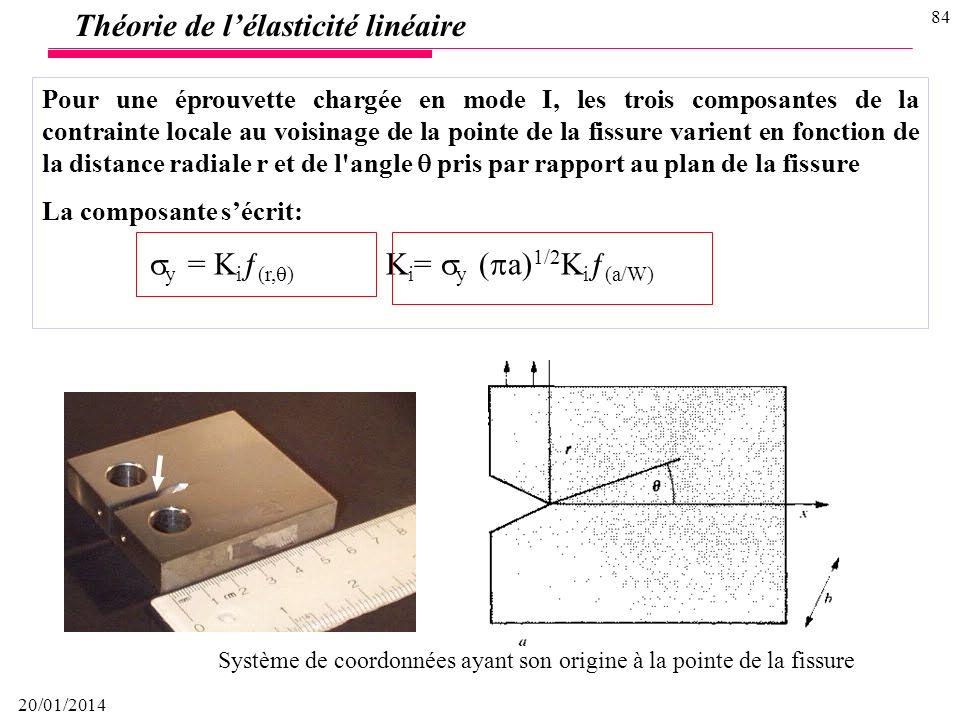 20/01/2014 83 Théorie de lélasticité linéaire Modes de rupture I, II et III I IIIII La théorie de l'élasticité linéaire fournit une relation entre la