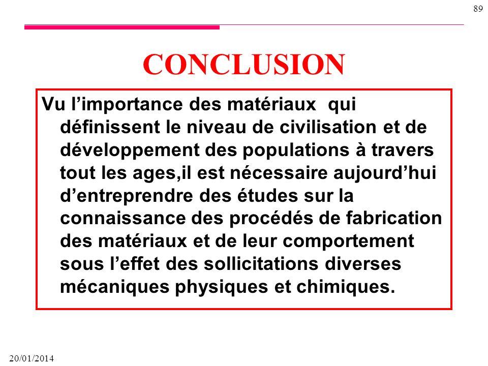 20/01/2014 88 Deux approches pour étudier corrosion des métaux Approche déterministe La mécanique de la rupture est lapproche commune, la plus utilisé