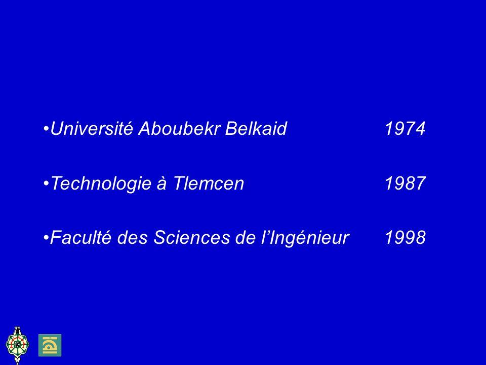 Université Aboubekr Belkaid1974 Technologie à Tlemcen1987 Faculté des Sciences de lIngénieur 1998