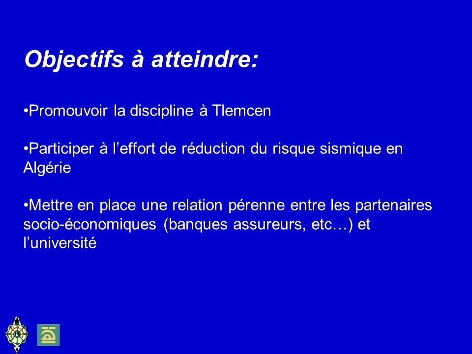 Objectifs à atteindre: Promouvoir la discipline à Tlemcen Participer à leffort de réduction du risque sismique en Algérie Mettre en place une relation pérenne entre les partenaires socio-économiques (banques assureurs, etc…) et luniversité