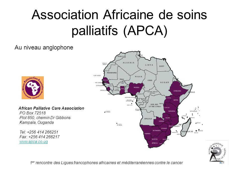 1 er rencontre des Ligues francophones africaines et méditerranéennes contre le cancer Association Africaine de soins palliatifs (APCA) Au niveau angl