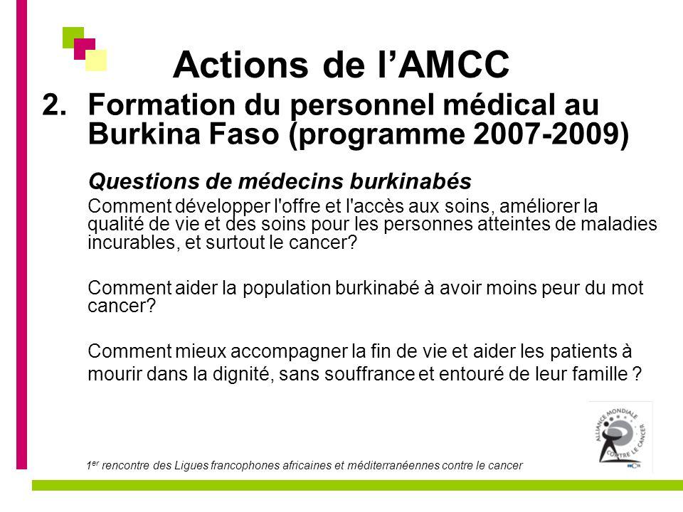 Actions de lAMCC 2.Formation du personnel médical au Burkina Faso (programme 2007-2009) Questions de médecins burkinabés Comment développer l'offre et