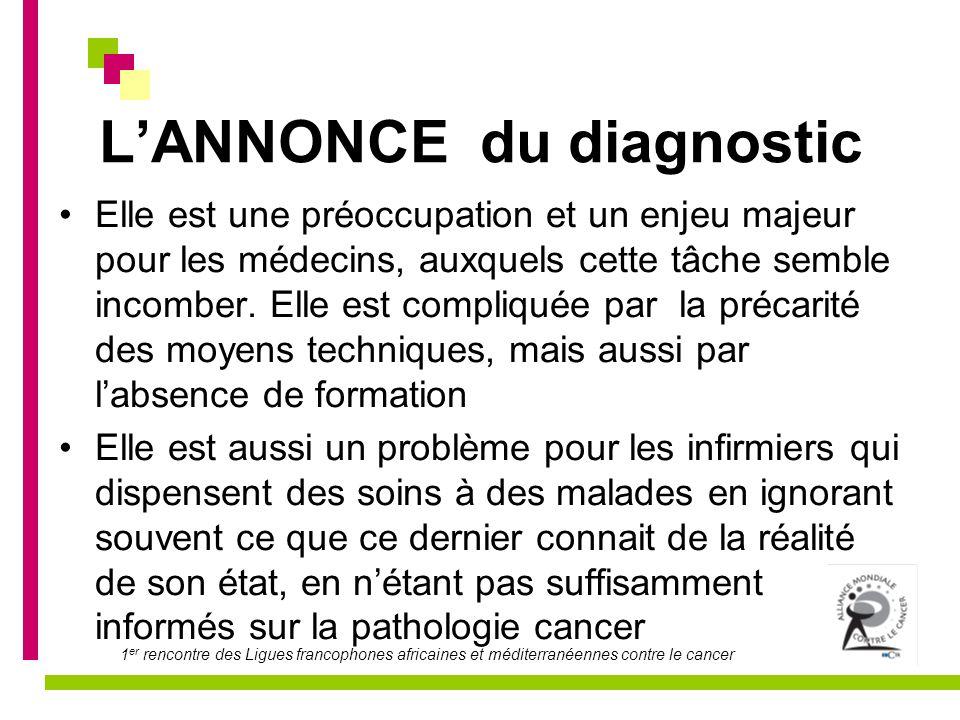 1 er rencontre des Ligues francophones africaines et méditerranéennes contre le cancer LANNONCE du diagnostic Elle est une préoccupation et un enjeu m