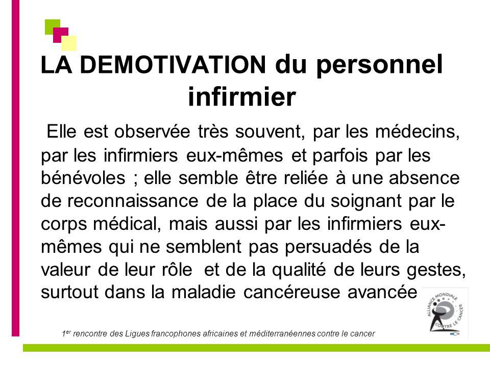 1 er rencontre des Ligues francophones africaines et méditerranéennes contre le cancer LA DEMOTIVATION du personnel infirmier Elle est observée très s