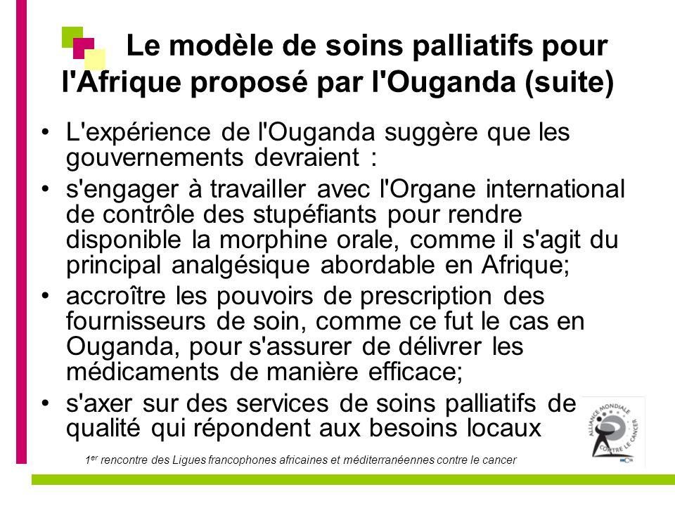 1 er rencontre des Ligues francophones africaines et méditerranéennes contre le cancer Les soins palliatifs.