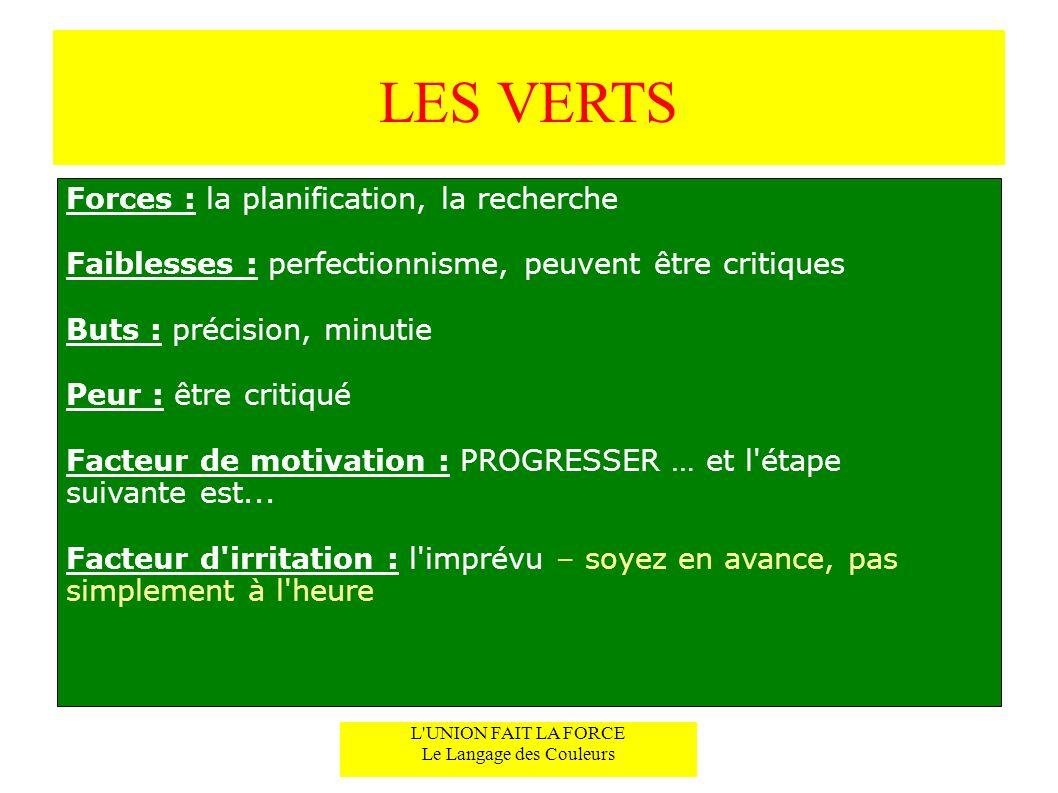 LES VERTS Forces : la planification, la recherche Faiblesses : perfectionnisme, peuvent être critiques Buts : précision, minutie Peur : être critiqué