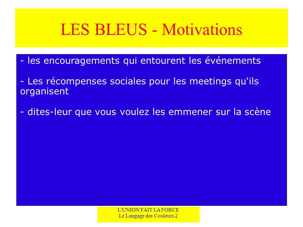 LES BLEUS - Motivations - les encouragements qui entourent les événements - Les récompenses sociales pour les meetings qu'ils organisent - dites-leur