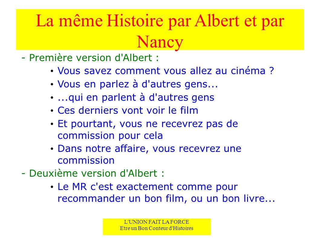 La même Histoire par Albert et par Nancy - Première version d Albert : Vous savez comment vous allez au cinéma .