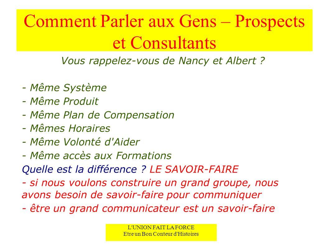 Comment Parler aux Gens – Prospects et Consultants Vous rappelez-vous de Nancy et Albert .
