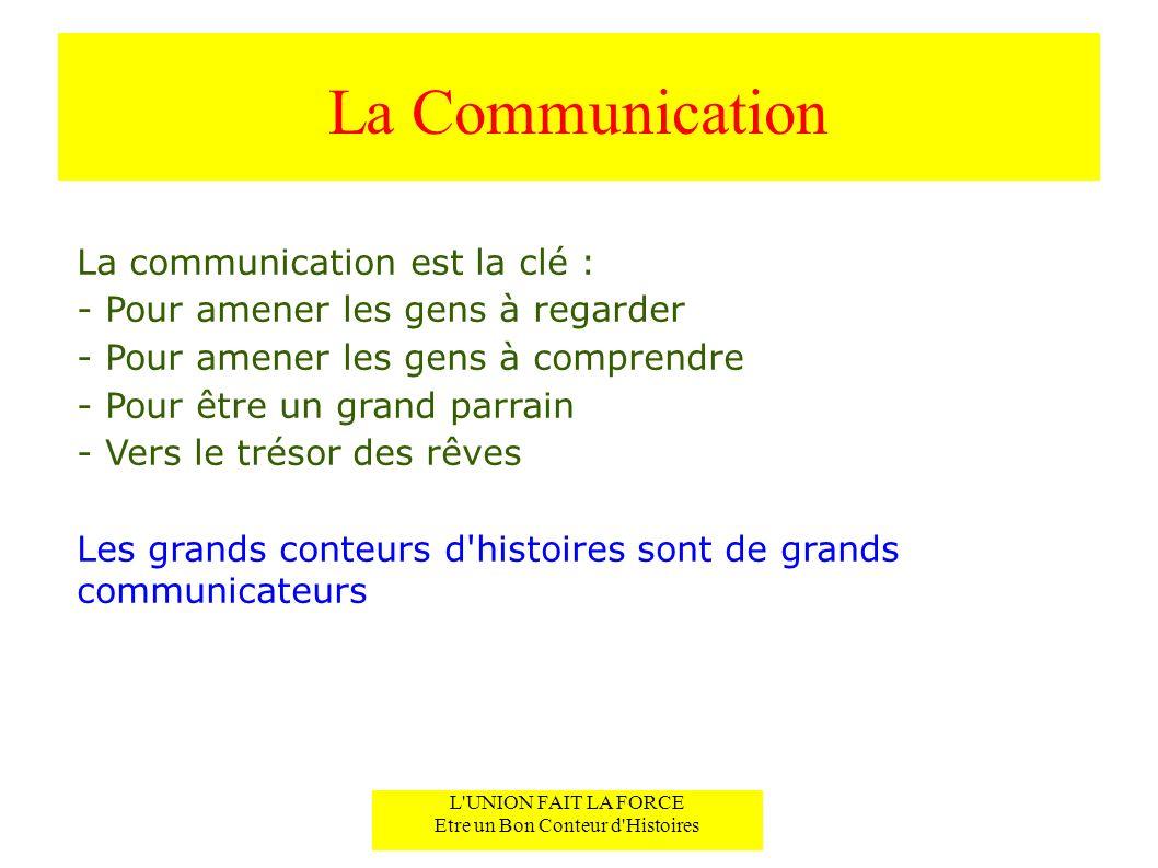 La Communication La communication est la clé : - Pour amener les gens à regarder - Pour amener les gens à comprendre - Pour être un grand parrain - Vers le trésor des rêves Les grands conteurs d histoires sont de grands communicateurs L UNION FAIT LA FORCE Etre un Bon Conteur d Histoires