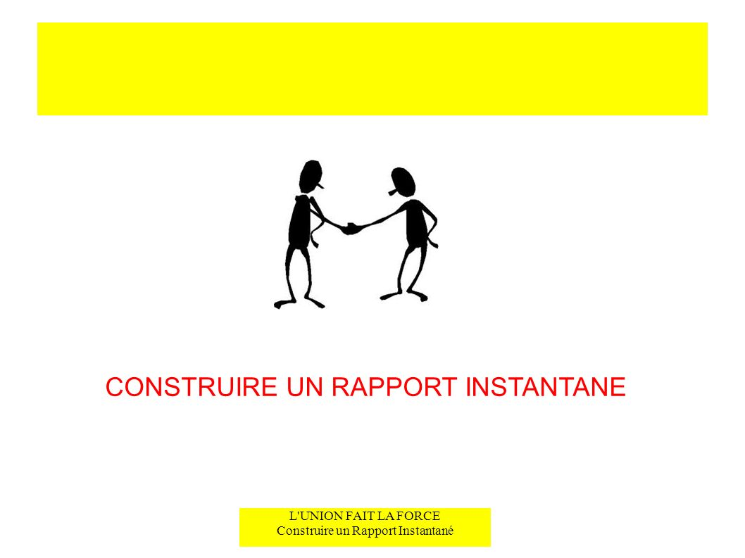 L'UNION FAIT LA FORCE Construire un Rapport Instantané CONSTRUIRE UN RAPPORT INSTANTANE