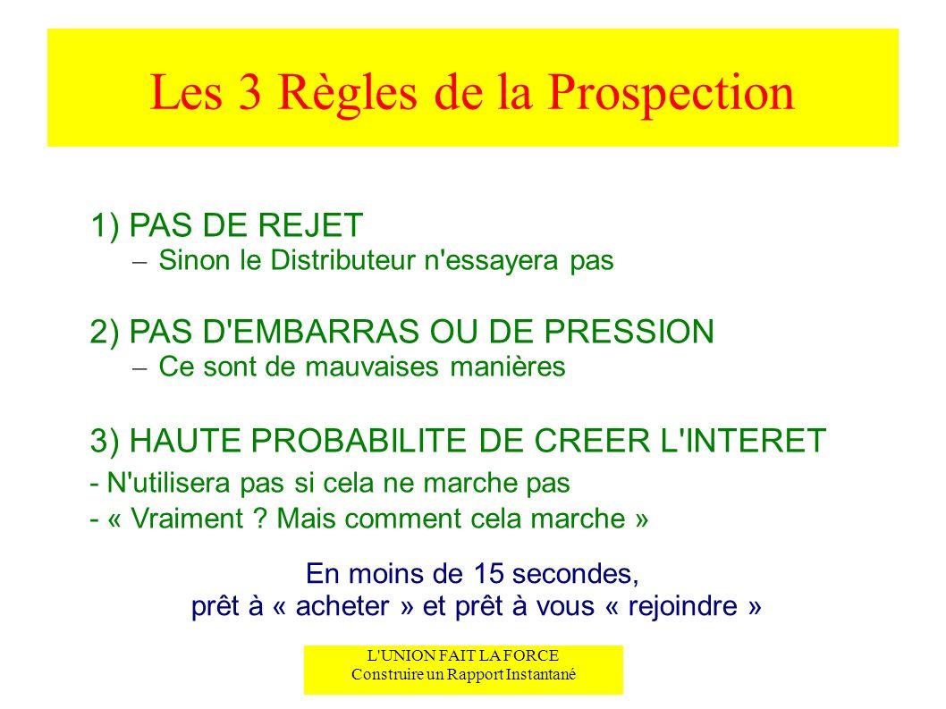 Les 3 Règles de la Prospection 1) PAS DE REJET – Sinon le Distributeur n'essayera pas 2) PAS D'EMBARRAS OU DE PRESSION – Ce sont de mauvaises manières