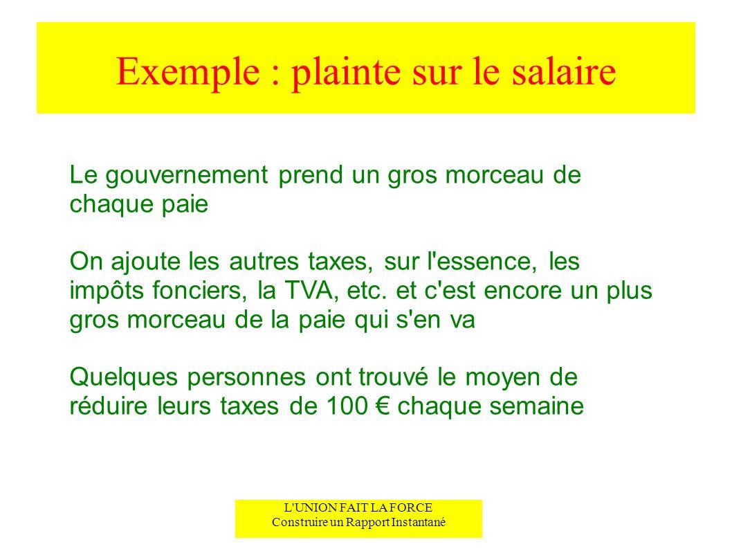 Exemple : plainte sur le salaire Le gouvernement prend un gros morceau de chaque paie On ajoute les autres taxes, sur l'essence, les impôts fonciers,
