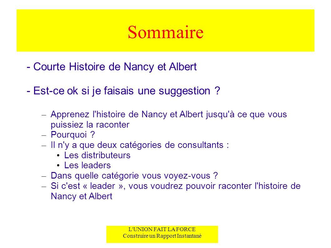 L'UNION FAIT LA FORCE Construire un Rapport Instantané Sommaire - Courte Histoire de Nancy et Albert - Est-ce ok si je faisais une suggestion ? – Appr