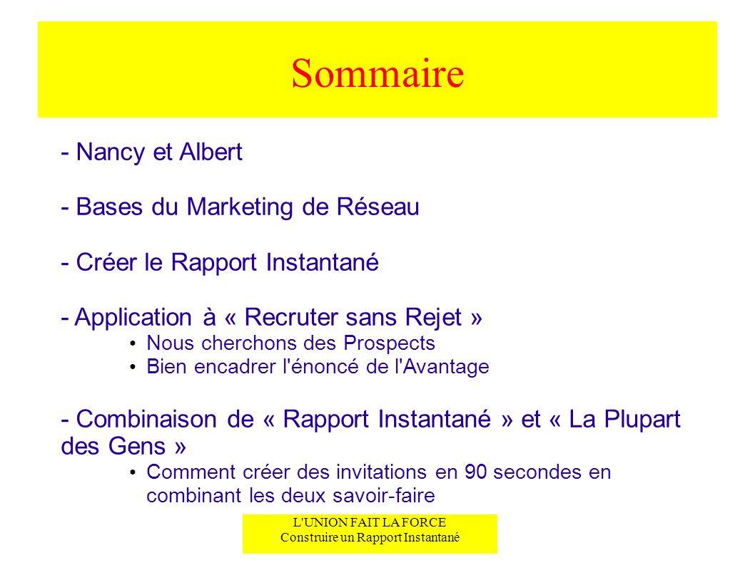 L'UNION FAIT LA FORCE Construire un Rapport Instantané Sommaire - Nancy et Albert - Bases du Marketing de Réseau - Créer le Rapport Instantané - Appli