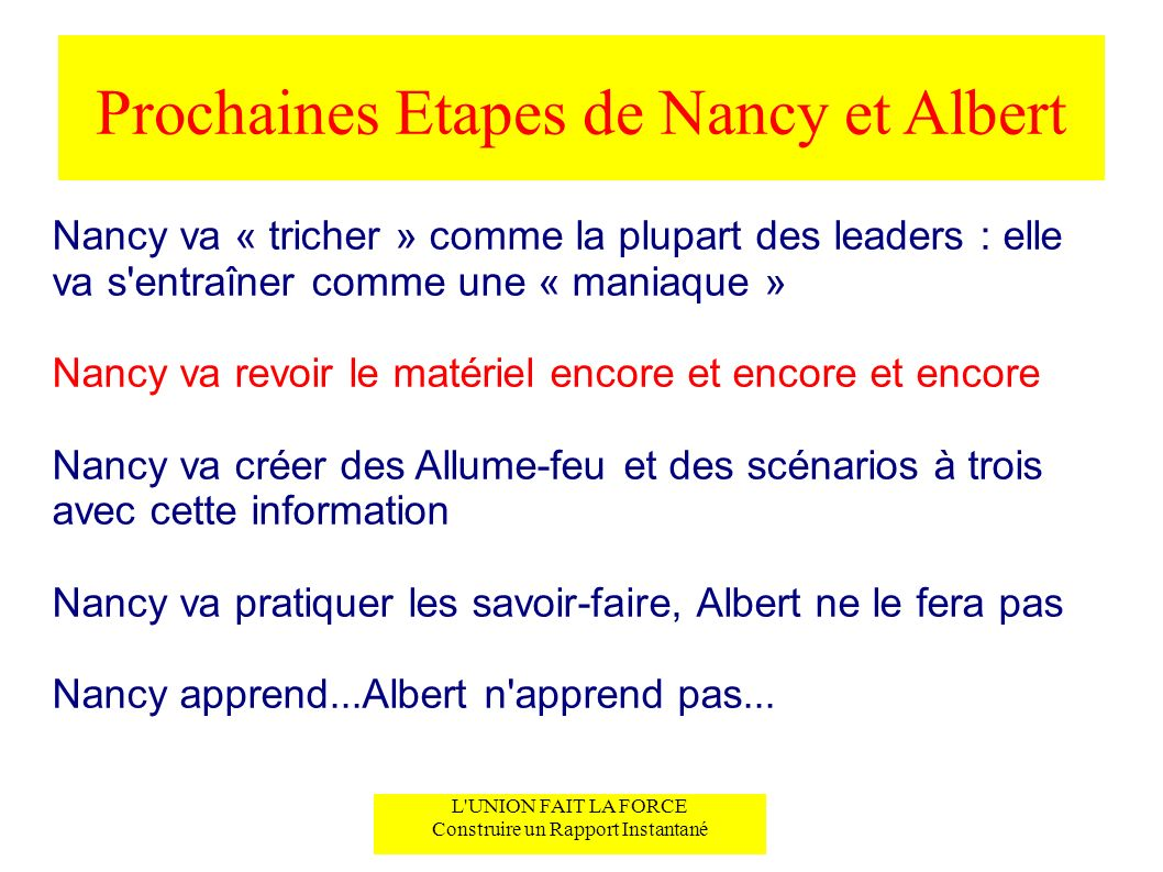 Prochaines Etapes de Nancy et Albert L'UNION FAIT LA FORCE Construire un Rapport Instantané Nancy va « tricher » comme la plupart des leaders : elle v