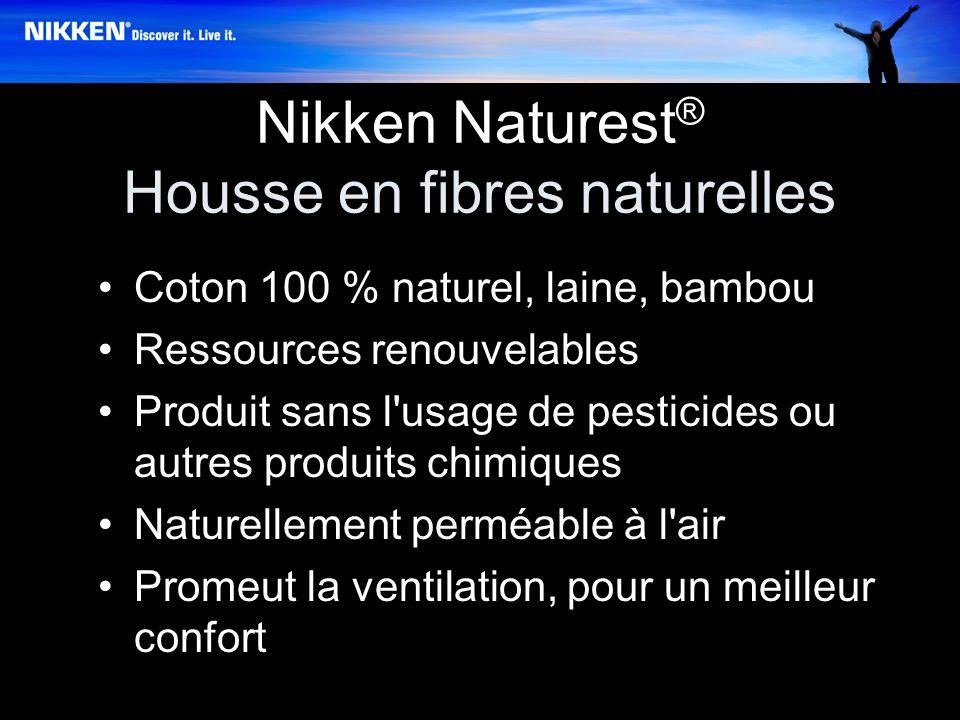 Nikken Naturest ® Housse en fibres naturelles Coton 100 % naturel, laine, bambou Ressources renouvelables Produit sans l usage de pesticides ou autres produits chimiques Naturellement perméable à l air Promeut la ventilation, pour un meilleur confort