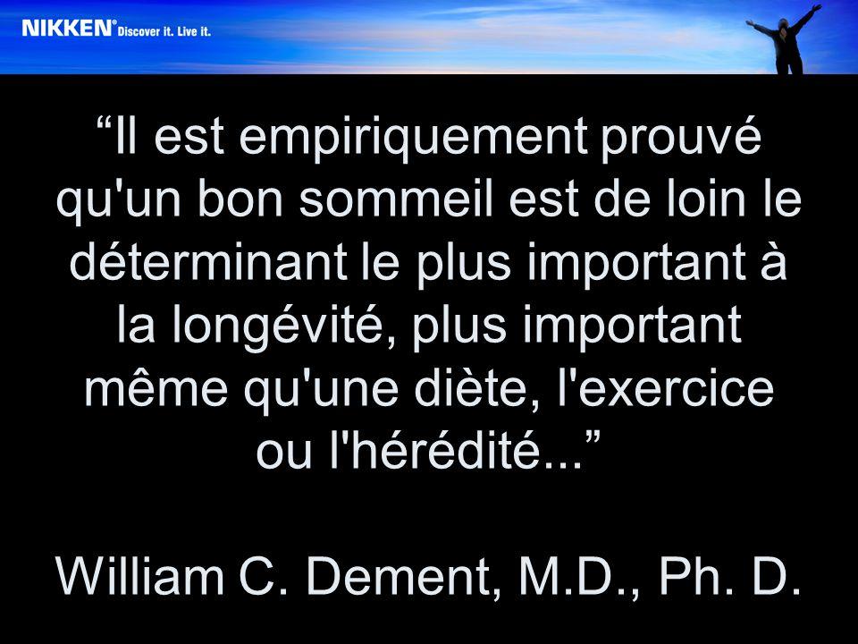 Il est empiriquement prouvé qu un bon sommeil est de loin le déterminant le plus important à la longévité, plus important même qu une diète, l exercice ou l hérédité...