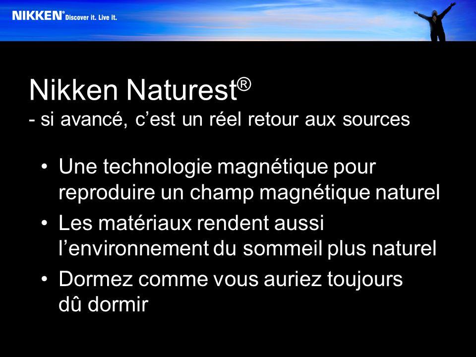 Nikken Naturest ® - si avancé, cest un réel retour aux sources Une technologie magnétique pour reproduire un champ magnétique naturel Les matériaux rendent aussi lenvironnement du sommeil plus naturel Dormez comme vous auriez toujours dû dormir