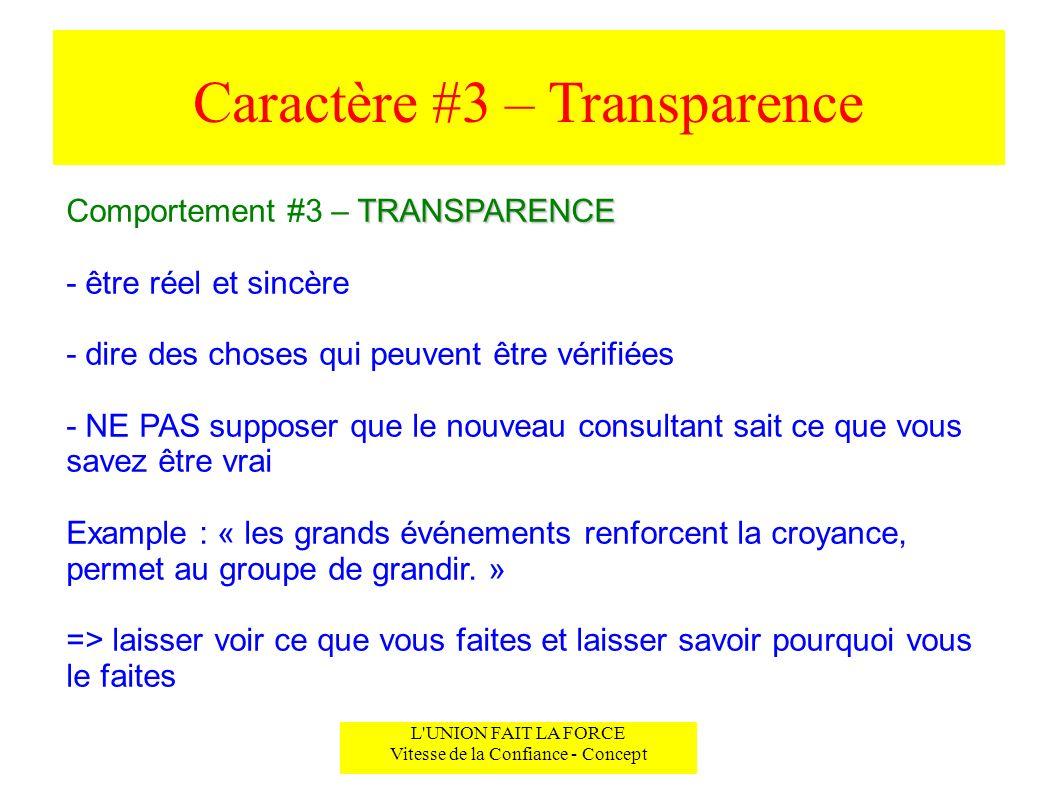 Caractère #3 – Transparence L'UNION FAIT LA FORCE Vitesse de la Confiance - Concept TRANSPARENCE Comportement #3 – TRANSPARENCE - être réel et sincère