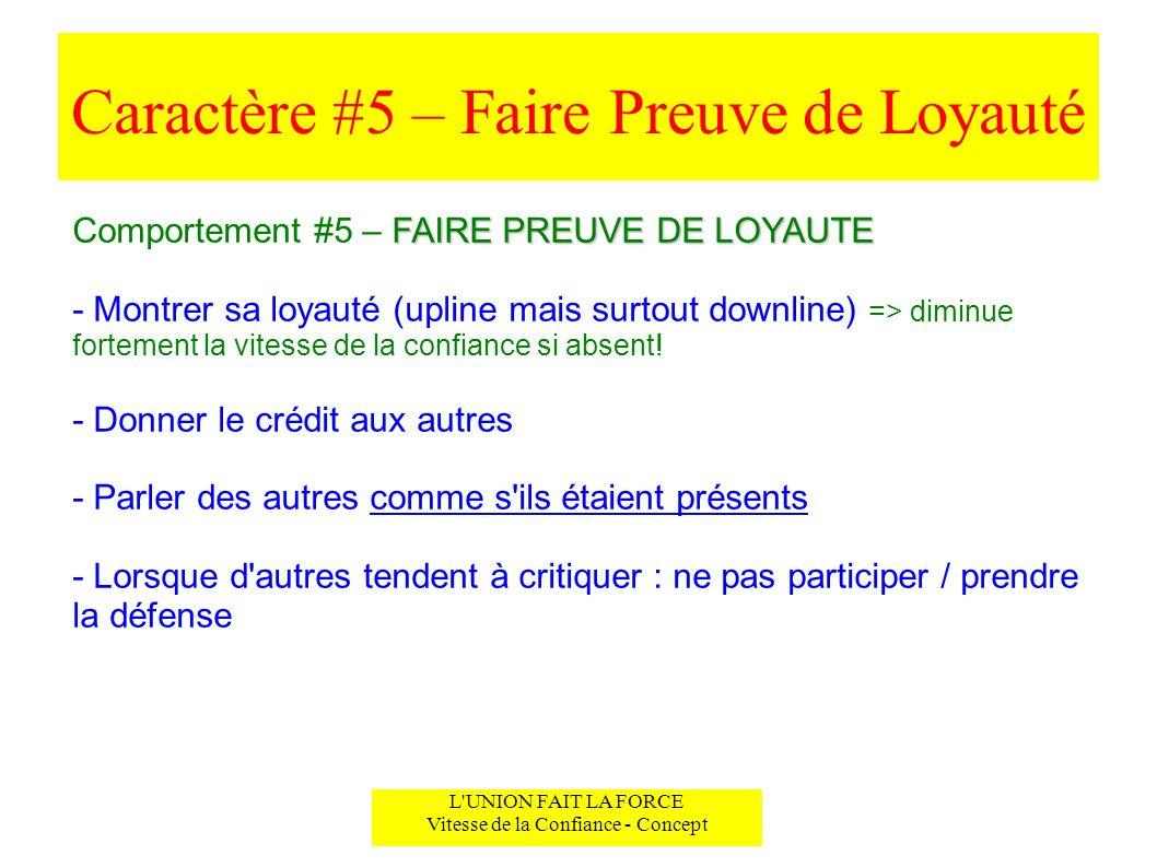 Caractère #5 – Faire Preuve de Loyauté L'UNION FAIT LA FORCE Vitesse de la Confiance - Concept FAIRE PREUVE DE LOYAUTE Comportement #5 – FAIRE PREUVE