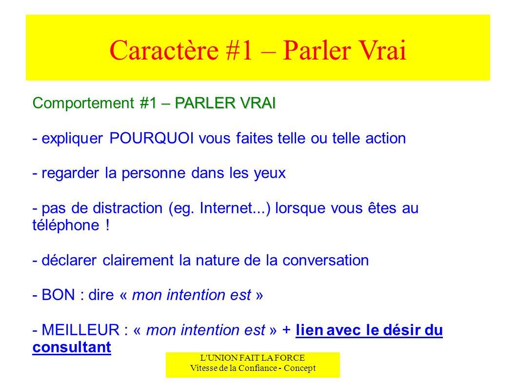 Caractère #1 – Parler Vrai L'UNION FAIT LA FORCE Vitesse de la Confiance - Concept PARLER VRAI Comportement #1 – PARLER VRAI - expliquer POURQUOI vous