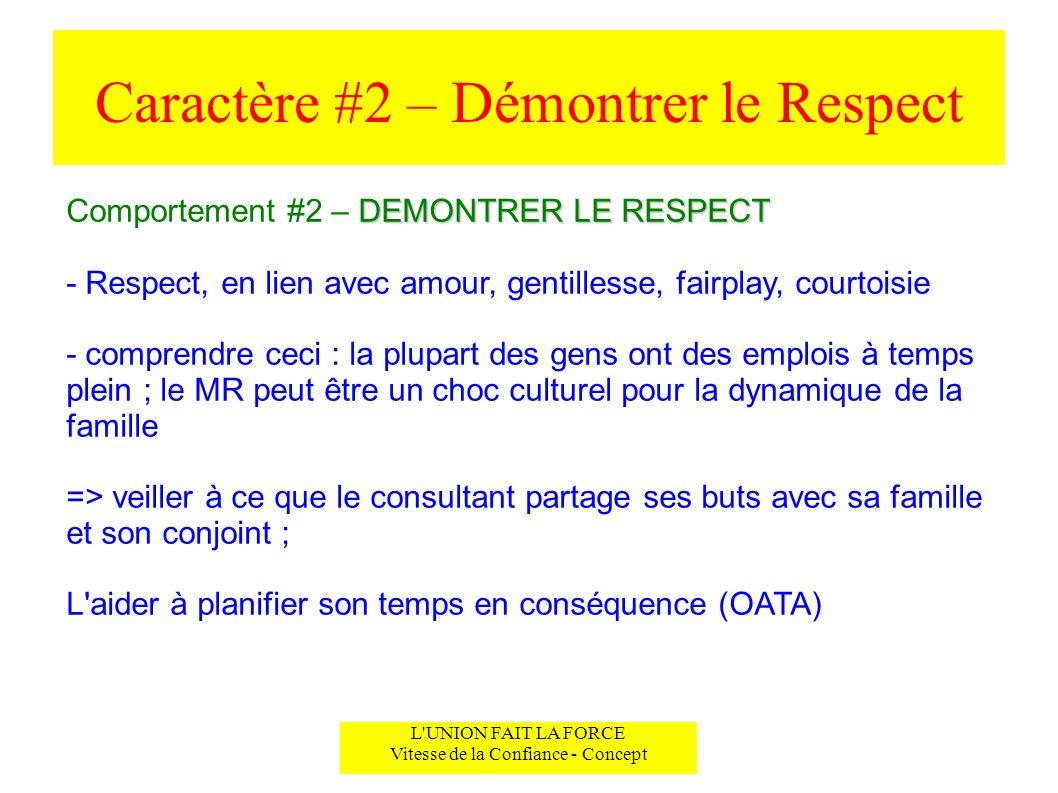 Caractère #2 – Démontrer le Respect L'UNION FAIT LA FORCE Vitesse de la Confiance - Concept DEMONTRER LE RESPECT Comportement #2 – DEMONTRER LE RESPEC