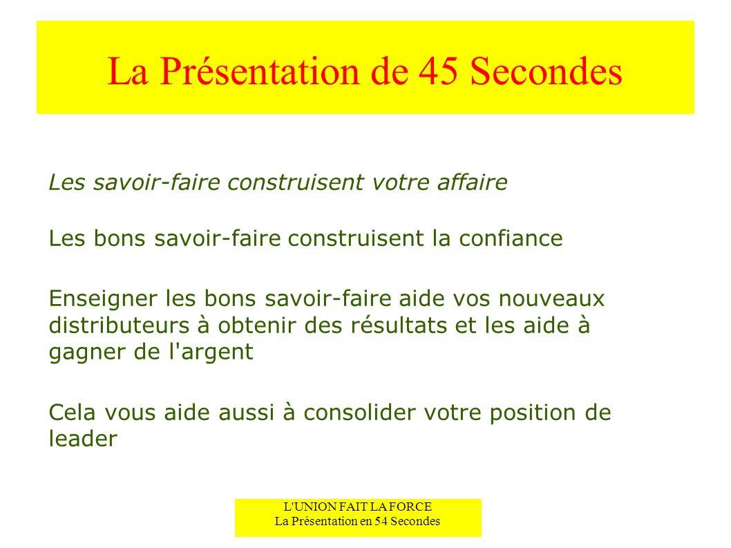 L'UNION FAIT LA FORCE Construire un Rapport Instantané La Présentation de 45 Secondes L'UNION FAIT LA FORCE La Présentation en 54 Secondes Les savoir-