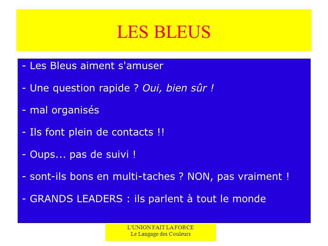LES BLEUS - Les Bleus aiment s'amuser - Une question rapide ? Oui, bien sûr ! - mal organisés - Ils font plein de contacts !! - Oups... pas de suivi !